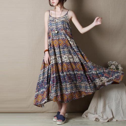 Bohemian Off-Shoulder Bare Back Printed Colour High-Waist Dress