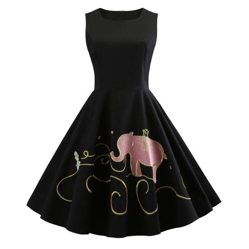 Plus Size Elephant Embroidery Vintage Dress Women Cotton Black Sleeveless Summer Dress Swing Party Dresses femme vestidos
