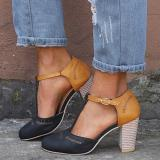 T-Strap Buckle Strap Chunky Heel Sandals