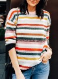 Colorful Striped Knitted Sweatshirt