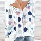 Spring  Blend  Women  Tie Collar  Polka Dot  Long Sleeve Blouses