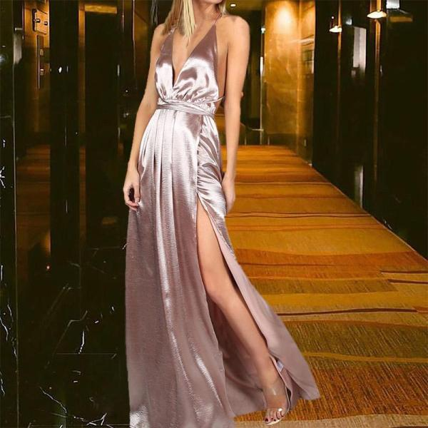 Fashion Sexy Suspenders Open Back Evening Dress