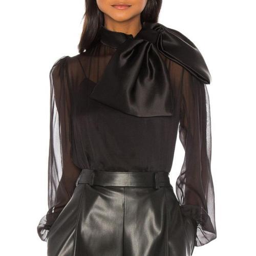Fashion Bowknot Bishop SleevePure Color Organza Blouse