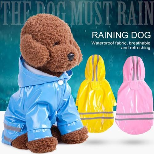 Solidcolor Waterproof Dog Raincoat with Hood for Pet Dog Puppy Rain Coat Cloak Costumes Clothes Supplies Golden RetrieverOutdoor