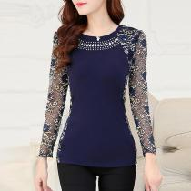 Round Neck  Beading  Hollow Out Lace Blouses