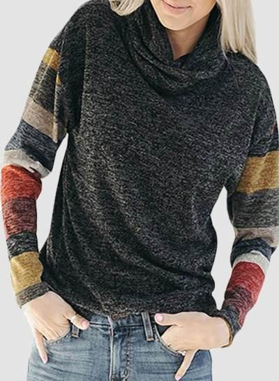 Turtleneck Color Block Sweatshirt