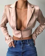 Solid Deep V Button Front Top