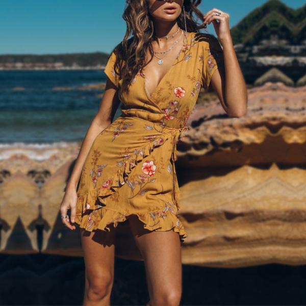 V-Neck Holiday Casual Dress