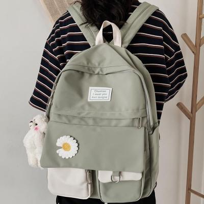 College Student Ladies Cute Backpack Women Flower Female Harajuku School Bags Book Kawaii Backpack Nylon Girl Trendy Bag Fashion