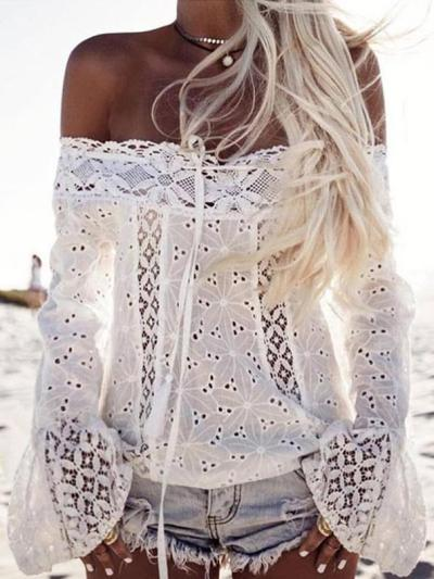 Lace Off Shoulder Flared Sleeves Cover-Ups Tops
