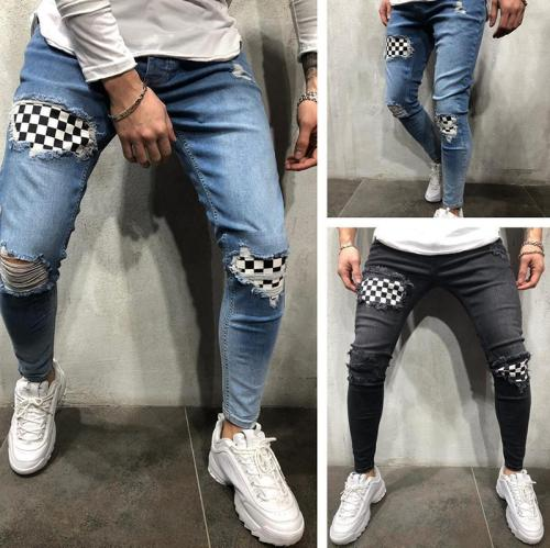 Tightening Tattered Badge Fit Jeans