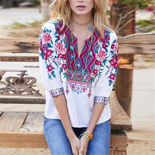 Ethnic Style Embroidered V-Neck Top
