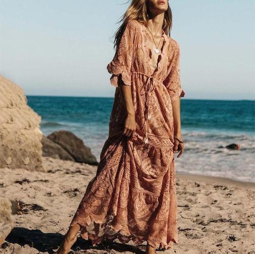 Casual V Neck Lace Loose Printed Colour Maxi Dresses