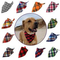 Dog Bandana Classic Cotton Plaid Scarf for Small Large Dog & Cat Adjustable Large Pet Bandana Pet Accessories Dog Scarf Wholesal