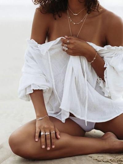 Solid Falbala Beach Cover-up