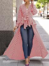 Fashion V Neck   Frenulum Show Thin Strips Shirt Dress