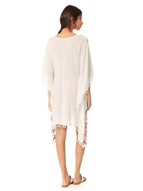 Bohemia Tassels Embroidered Loose Midi Dress Cover-Ups