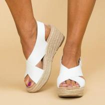 Peep Toe Magic Tape Crossed Wedges Sandals
