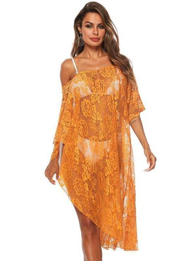 Lace Solid Floral Beach Cover Up