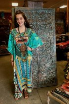 Maxi  Boho Dress, Beach Dress,  Kaftan, Tribal in Green
