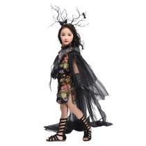 Girls Halloween Chinese Cheongsam Style Retro Creative Costume Party Fancy Flower Dress