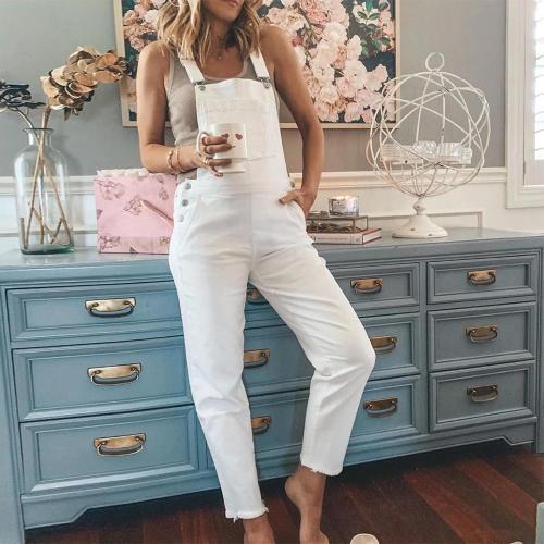 EBUYTIDE Pure White Slim Fit Sling Jumpsuit
