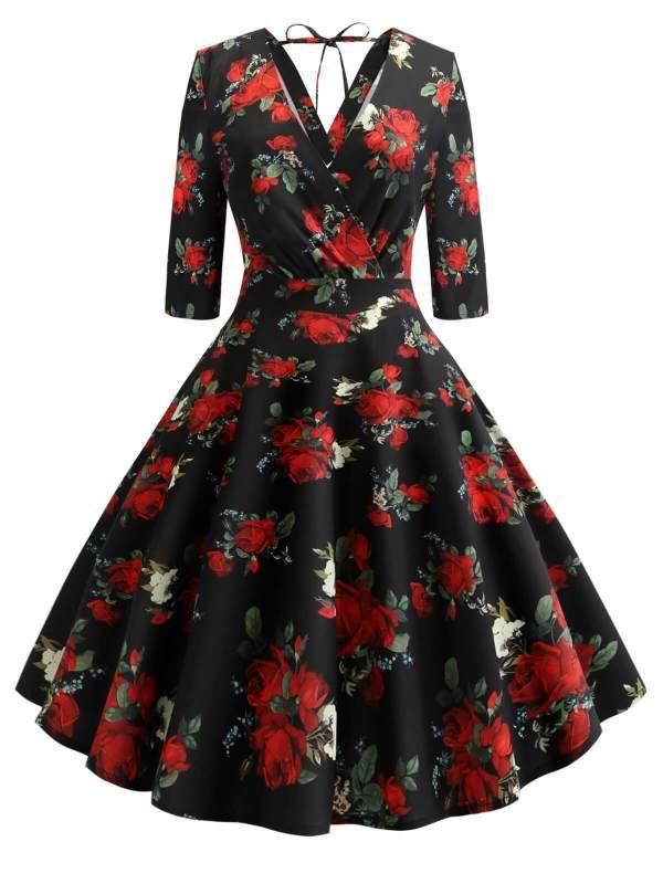 1950s Floral Lace Up Wrap Dress