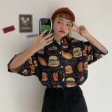 Women Harajuku Print Shirt Summer Loose Turn-down Collar Streetwear Blouse