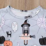 Emmababy Toddler Kids Baby Girls Cartoon Print Long Sleeve Printed Lovely Fashion Dress Halloween Casual Clothes
