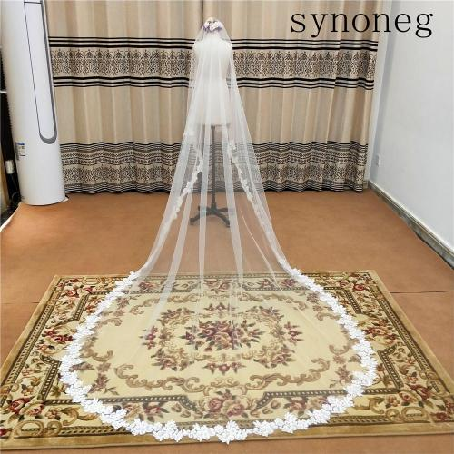 White Lace Bridal Edge Veils Hot Sale 300CM Cathedral Bridal Veil Custom Made Ivory Tulle Wedding Accessories For Bride