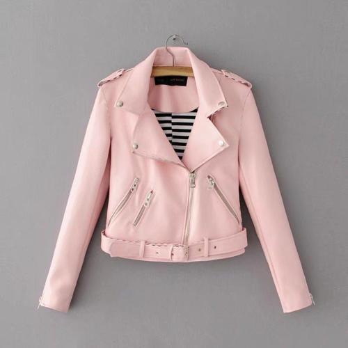 Solid Color Lapel Zippers Women Slim Short Cropped PU Jacket