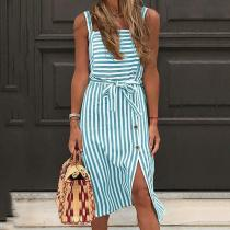 Buttoned Striped Backless Sling Dress