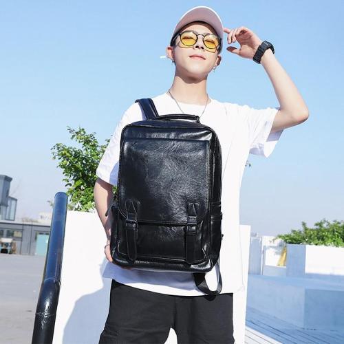 Brand High Quality Men Backpack Leather School Back Bag Waterproof USB Travel Bag Solid Large Teenager Bookbag Male
