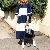 Casual Short Sleeve Patchwork Round Neck Vacation Maxi Dress