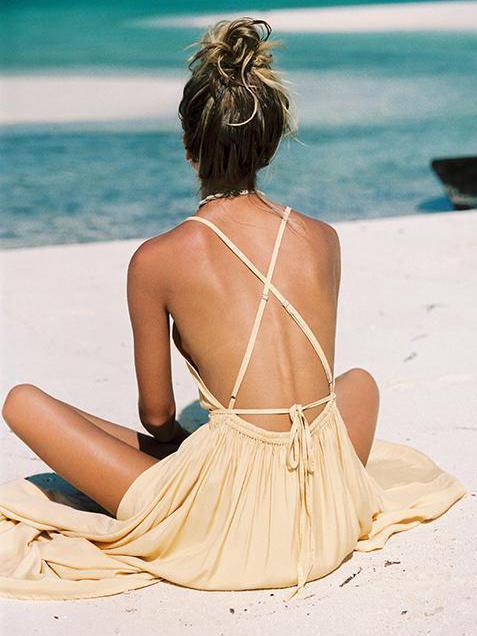 Bohemia Solid Bandage Maxi Dresses
