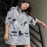Women Beach Style Blouses Casual Plus Size Harajuku Print Short Sleeve Shirts Summer Loose Tops
