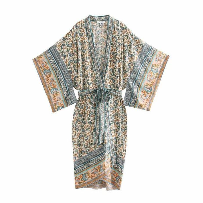 Boho Robe, Kimono Robe, Emilie in Viridian