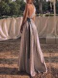 Commuting Polka Dot Sloping Shoulder Belted Evening Dress