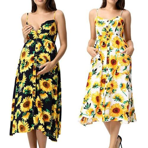 EBUYTIDE Casual Sunflower Maternity Dress Sleeveless Button Pregnancy Clothes Summer Floral Printed Pregnant Sundresses