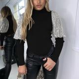Women Sexy Ribbed T-shirt Turtleneck Skinny Sequined Puff Sleeve Patchwork T-shirt and Tops Shirt Women Slim Shirt Clubwear Tops