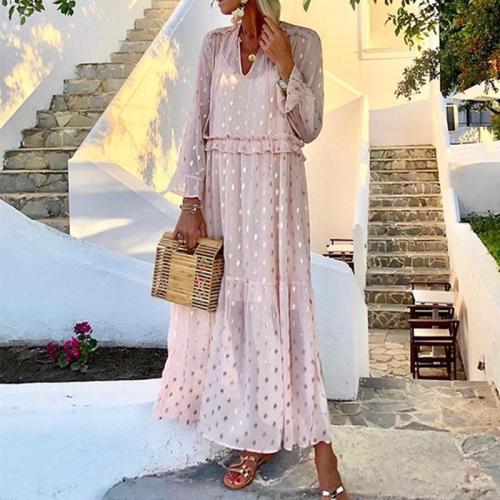 Romantic Fashion V-Neck Metallic Color Dot Printed Long-Sleeved Slim Casual Maxi Dresses