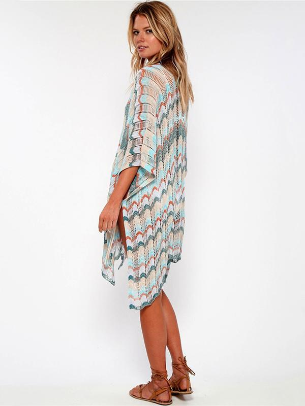 Asymmetric Colorful Knitting Cover-up