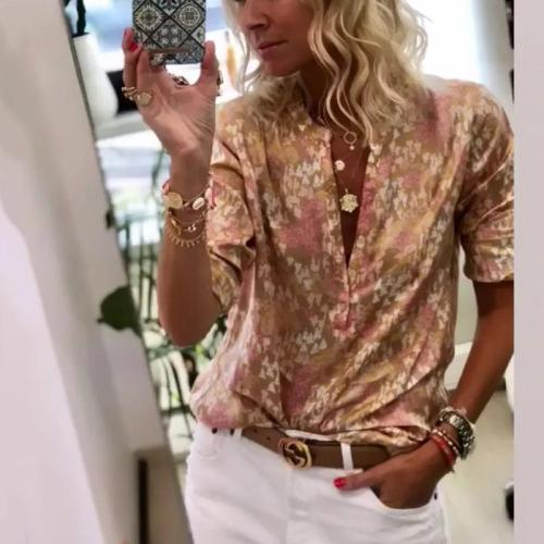 Fashion V-Neck Printed Short-Sleeved Shirts