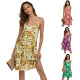 Summer New Fashion Ladies V-Neck Backless Sexy Print Dresses Women Summer Boho Spaghetti Suspender Dress
