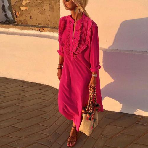 Brief Long Sleeve Pure Color Single-Breasted Casual Maxi Dress