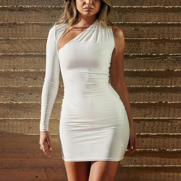 Sexy Long Sleeves And Solid Color Bodycon Dress