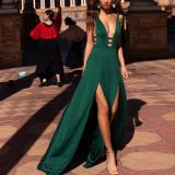 Sexy Solid Color Deep V Sleeveless Sling Dress
