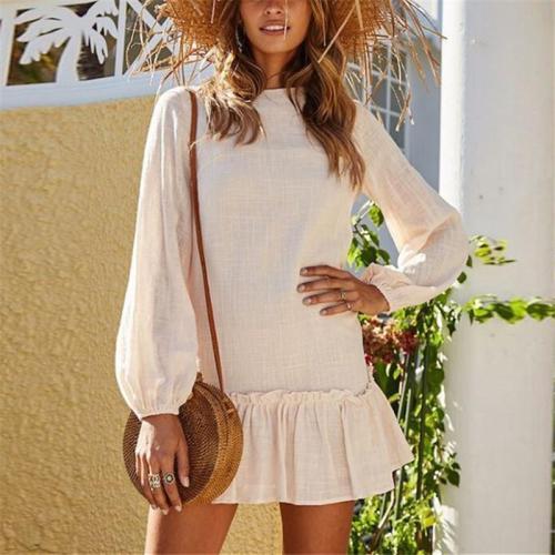 Casual Loose Show Thin   Pure Color Pleated Mini Dresses