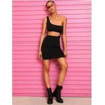 EBUYTIDE Cool Hip Hop Women Bodycon Slim One Shoulder Front Hole Evening Party Stretch Sexy Mini Dress