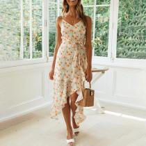 Fashion print suspender tie dress